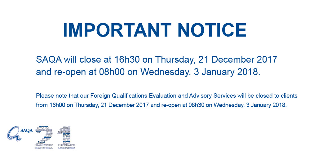 Notice of Closure of SAQA offices